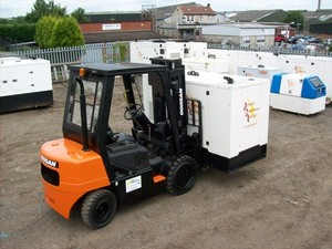 Refurbished 3 ton forklift carries the load for emergency power supply firm Power Command.